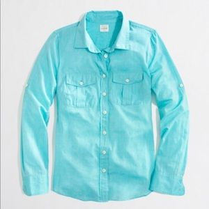 J Crew medium perfect shirt blue green